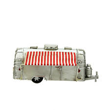 Gallerie II 65 Silver Vintage Style Camper With Red And White Striped Awning Christmas Village