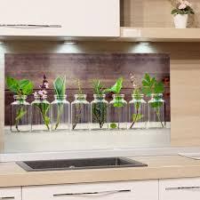 küchenrückwand glas esg motiv käuter spritzschutz küche herd