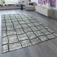 designer teppich wohnzimmer grau anthrazit 3 d karo muster abstrakt kurzflor