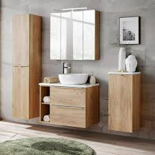 badezimmermöbel set mit led spiegelschrank 3d wotaneiche