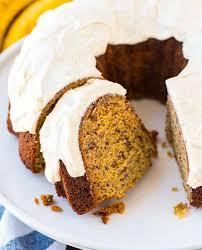 Exceptionally moist flavorful Banana Bundt Cake with Vanilla Bean Cream Cheese Glaze Easy recipe