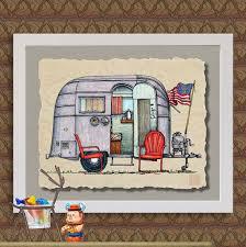 AIR STREAM Happy Camper Art Cute Whimsical Travel By TwoBananasArt 2000