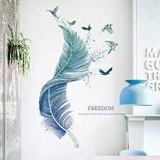 wandsticker4u wandtattoo feder blau i wandbilder 124 72cm i wand deko wohnzimmer modern vogel aufkleber i wandsticker für schlafzimmer küche bad