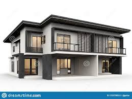 100 A Modern House 3d Rendering Luxury Style Isolated On White Background