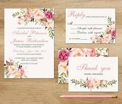 Water Color Floral Wedding Invitations CountryWedding RusticBoho