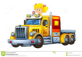 Cartoon Scene With Happy And Funny Child - Girl In Cargo Truck ...