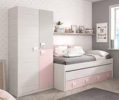 miroytengo kinder schlafzimmer set mit regal und kleiderschrank rosa weiß ohne lattenrost