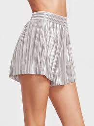 metallic silver elastic waist pleated shorts shein sheinside