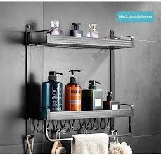 punch freies bad regale moderne einfache doppel schicht splitter schwarz tablett raum aluminium badezimmer dusche hardware rack dual tier