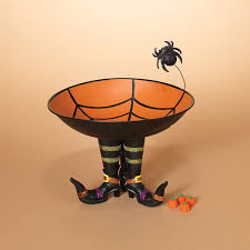 Halloween Candy Dishes by Metal Halloween Candy Bowl With Spider Web On Witch Boots
