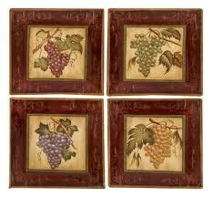 Benzara Tuscany Grapes Ceramic Plate Wall Decor Four Piece Set 10Hx10W