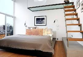 Bedroom Wooden Floor And Staircase View In Amazing Large Loft Design Interior With High Ceiling
