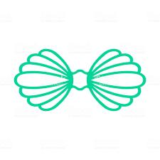 100 Sea Shell Design Turquoise Mermaid Bra Outline Mermaid Top Tshirt Scallop