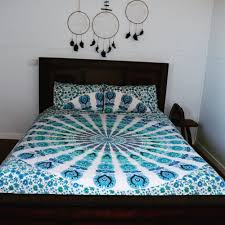 King Size White & Blue Reversible Peafowl Mandala Duvet Cover