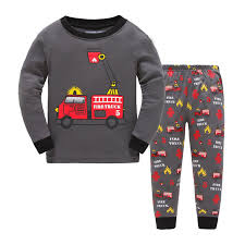 Amazon.com: Wapaaw Little Boys Kids Fire Truck Pajamas Sets Long ...