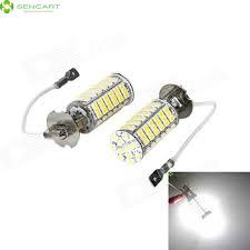 h3 5w 460 lumen 6500k 102x3528 smd led car white light bulb pair