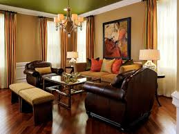cream and dark brown leather sofa plus rectangle table on the