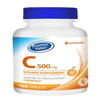 Premier Value C Chewable Vitamin Supplement Orange - 500mg Tablet 100ct. Premier Value.