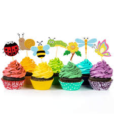 CC HOME Summer Spring Insects Party Decoration24 PCS Sunflower Cupcake Toppers Cake Picks Insect Cup Food For GirlBoys
