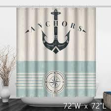 Oceans Love Anchors Print Shower Curtain Custom Shower Curtain Store
