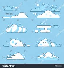 100 Flat Cloud Vector Set Blue Sky