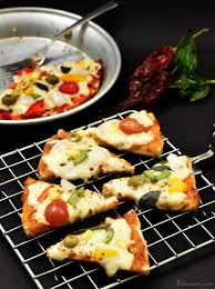 Bread Pizza Recipe Without Oven Made On Gas Stove Top