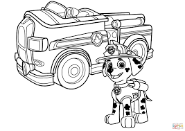 Paw Patrol Marshall With Fire Truck Coloring Page Free Printable Inside