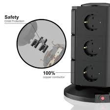 vadooll 11 fach mehrfachsteckdose 2 usb 2500w 10a büro steckdosenleiste tischsteckdose blitzschutz multistecker überspannungsschutz
