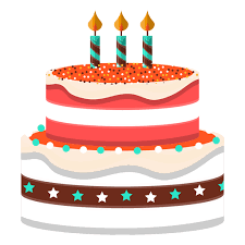 Three candles birthday cake illustration Transparent PNG
