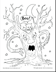 Impressive Scary Tree Coloring Pages Adults Halloween Printable Witch Large Size
