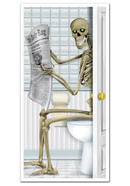 Funny Bathroom Door Art by Skeleton Restroom Door Cover
