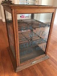 Antique Display Bakery Glass Wood Cabinet 1897 Buffalo Ny Schwanbeck Bros 324