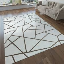 kurzflor wohnzimmer teppich geometrische muster modern beige