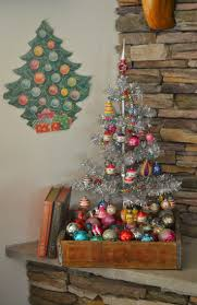 Adventures In Decorating Christmas by Small Silver Tree In Rustic Wood Box Filled With Vintage