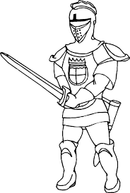 Knight Sword Fighting Colouring Page Coloring