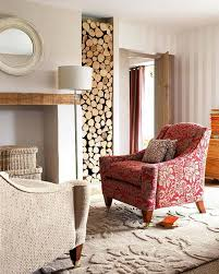 Minimalist Living Room And Sleek Rustic Style Also Warm Cozy Nuance Vertical Wood Burning Storage Floral Pattern Armchair In Red Wicker Basket