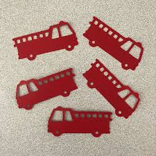 100 Fire Truck Cupcake Toppers Truck Die Cut Party Tags