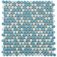 Home Depot Merola Lantern Ceramic Tile by Merola Tile Comet Penny Round Oceano 11 1 4 In X 11 3 4 In X 9