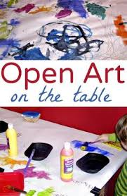 Great Boredom Buster For Kids Open Ended Art On A Paper Covered Table