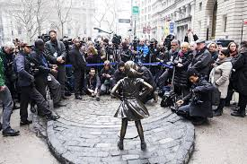 TV Cameras And Photojournalists Surrounded The Fearless Girl Statue Last Month Awaiting Mayor Bill De Blasios Announcement That She Would Stay Opposite