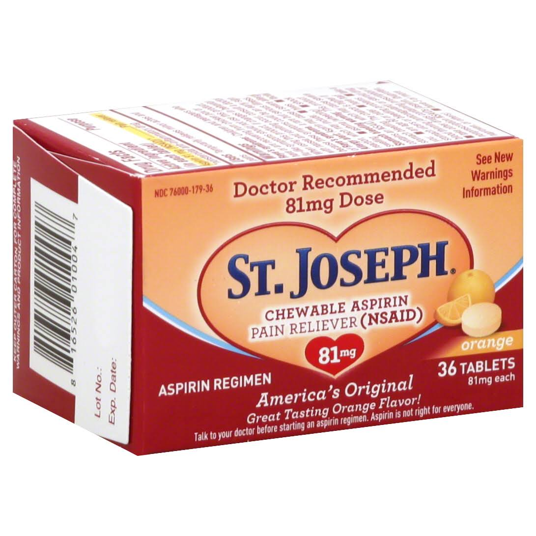 St. Joseph Aspirin Pain Reliever - Orange, 81mg, 36 Tablets