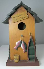 FISHING CABIN Decorative BIRD HOUSE 115 X 75 7 Birdhouse Decor Boat Fish