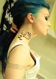 Cat Tattoo On Neck