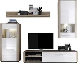 trendteam smart living 1225 953 41 wohnzimmerschrank wohnwand anbauwand tila in weiss hochglanz eiche sägerau hell b h t 244 x 197 x 50 cm