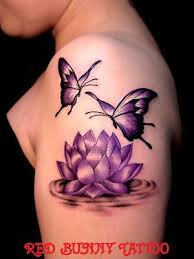 Lotus Flower And Butterfly Tattoos