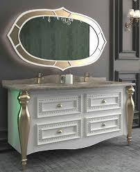casa padrino luxus barock badezimmer set weiß grau gold 1 waschtisch mit 4 schubladen und 2 waschbecken und 1 wandspiegel prunkvolle