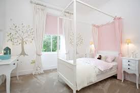 Mid Sized Elegant Girl Carpeted Kids Bedroom Photo In Other With White Walls