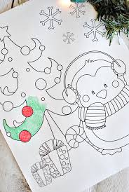 Penguin Cute Christmas Coloring Page