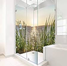 original plateart eck duschrückwand 2 x 90x200 cm wandverkleidung wandbild rückwand alu dibond ohne fugen fliesenersatz nordsee motiv