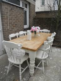 Shabby Chic Dining Room Chair Covers by French Blue Shabby Chic Dining Table And Chairs Toile Fabric In